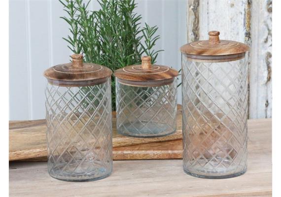 Glas mit Deckel aus Mangoholz