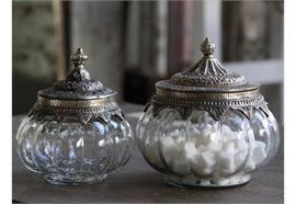Glasbox mit Deckel & silber Dekor