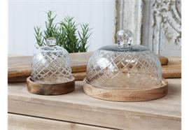 Glasglocke mit Platte aus Mangoholz