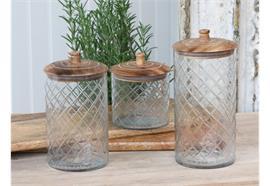 Glaskrug mit Deckel aus Mangoholz