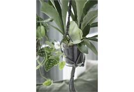 Hänger für Blumentopf grau Jute