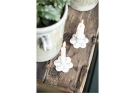 Kerzenhalter f/Stabkerze Blume weiss