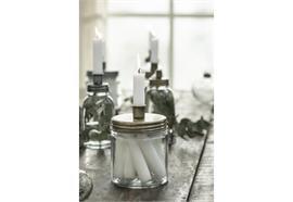 Kerzenhalter für Stabkerze Metalldeckel niedrig