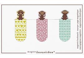 Magnetlesezeichen - Drei Affen