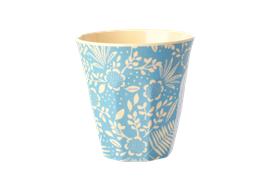 Medium Becher - Blue Fern & Flower Print