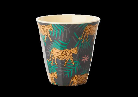 Medium Becher - Leopard and Leaves Print