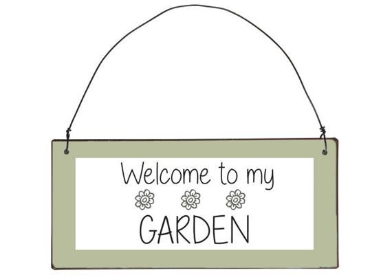 """Metallschild """"Welcome to my garden"""""""