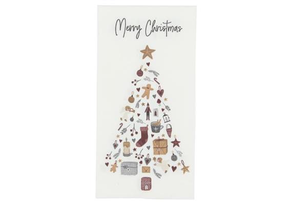 Serviette Merry Christmas m/Tannenbaum 16 Stck