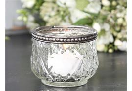 Teelichthalter mit Perlenkante Glas