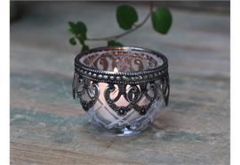 Teelichthalter mit silber Dekor Glas
