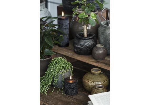Vase mini mit Rillen krakelierte Oberfläche