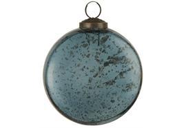 Weihnachtskugel flach pebbled Glas petrol
