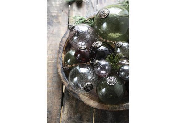 Weihnachtskugel pebbled glass olive